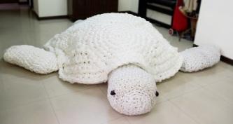 one brown planet, beach clean, plastic pollution, worlds largest crochet turtle, amigurumi